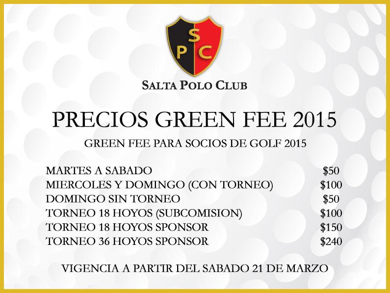 PRECIO GREENFEE 2015