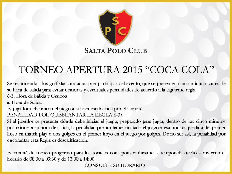 APERTURA 2015 «COCA COLA» Comunicado importante