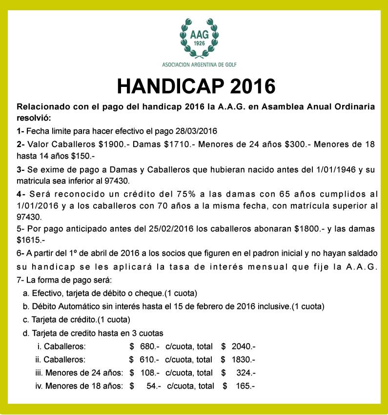 HANDICAP 2016