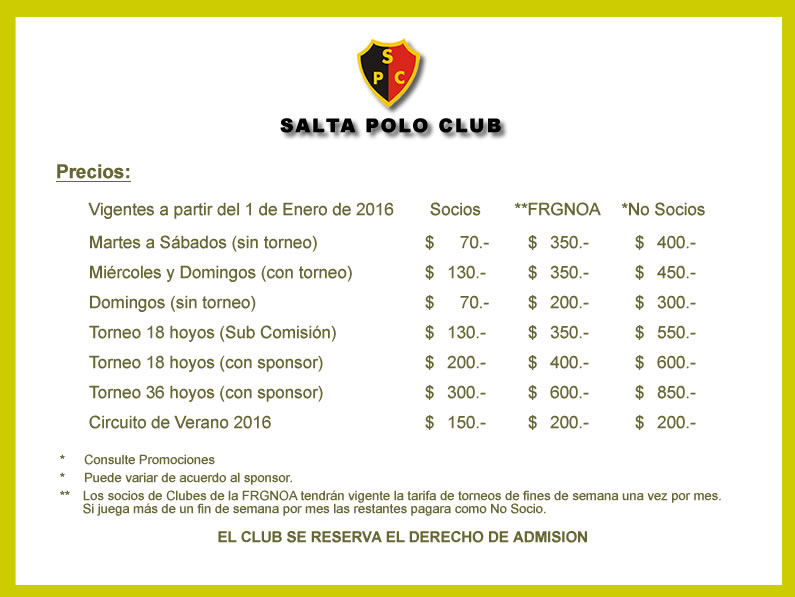 Valores del Green Fee 2016