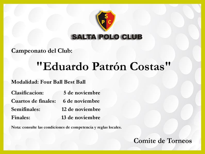 CAMPEONATO DEL CLUB – FOUR BALL